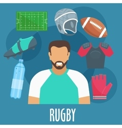 Rugby sport equipment and outfit elements vector