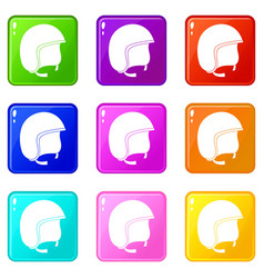 Safety helmet icons 9 set vector