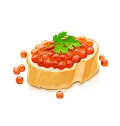 Sandwich with salmon caviar vector