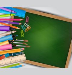 School background with green chalkboard vector