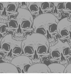 Seamless horror grey skull tattoo pattern vector