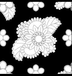set seamless with delicate flowers in black vector image