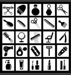 set simple icons for barber or beauty salon vector image