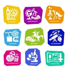 Set with school subjects icons for design vector image