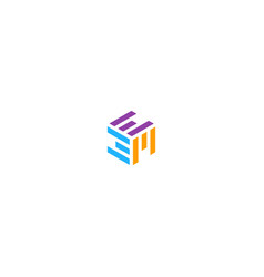 Shape line cube abstract logo vector