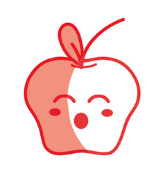 Silhouette kawaii cute funny apple fruit vector