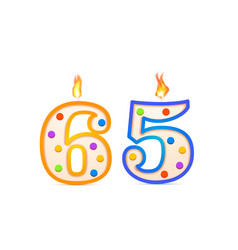 sixty five years anniversary 65 number shaped vector image