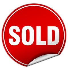 Sold round red sticker isolated on white vector