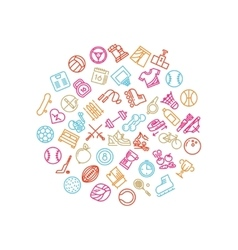 Sport tools line icons in circle design Trendy vector image