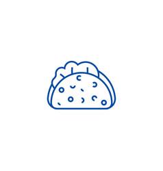 Taco line icon concept taco flat symbol vector
