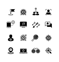 Target and goal icons targeting strategy and vector