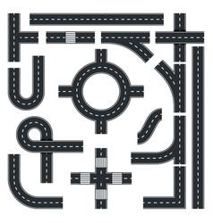 Traffic interchange kit set seamless road top vector