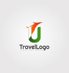 Travel agent logo design with initials u letter vector