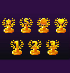 trophies different variation 1st 2nd 3rd place vector image