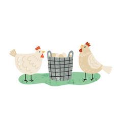 two hens near wicker basket full organic eggs vector image