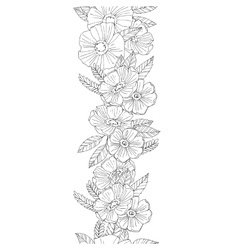 Vertical seamless floral border vector image