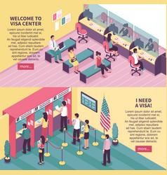 visa center horizontal banners set vector image