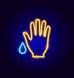 Wash hand neon sign vector