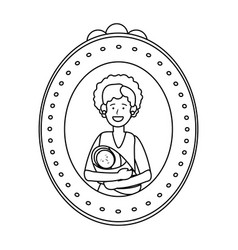 Woman carrying baphoto frame black and white vector