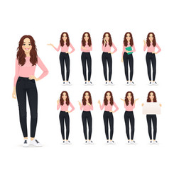 Woman in casual style clothes set vector