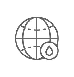 world with drop line icon vector image