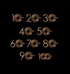 Year anniversary luxury set logo template design vector