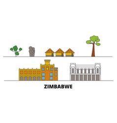 Zimbabwe flat landmarks vector