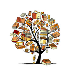 books tree sketch for your design vector image vector image