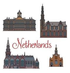 Dutch travel landmarks symbol thin line style vector image vector image