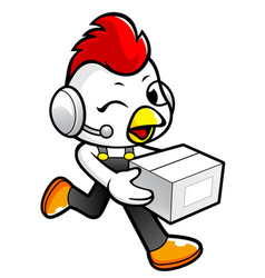 Rooster character on running and holding a box vector