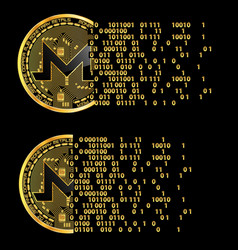 set of crypto currency monero golden symbols vector image