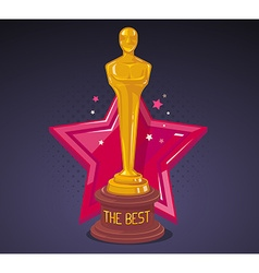 yellow cinema award with red big star on vector image