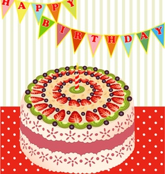 birthday cake with kiwi vector image vector image