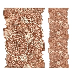 Indian henna tattoo style floral vertical vector image