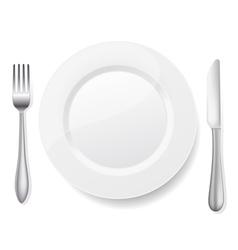 knife fork white plate vector image vector image