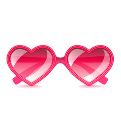 pink hearts sunglasses isolated on white vector image