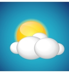 Weather Icons with Sun and Cloud vector image