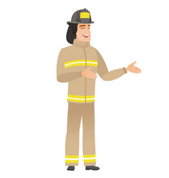 young caucasian happy firefighter gesturing vector image vector image