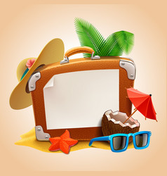 advertisement on travel suitcase vector image vector image
