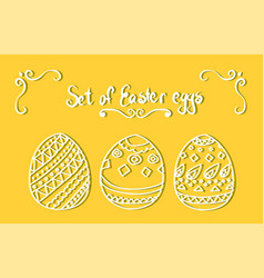set of white easter eggs vector image vector image