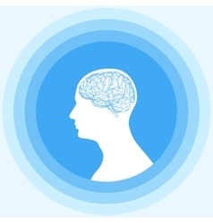 Silhouette of the human head with brain Low poly vector image