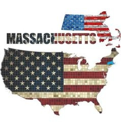 USA state of Massachusetts on a brick wall vector image