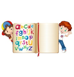 Boy and girl behind a book vector image vector image