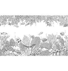 coral reef and swimming fishes pattern vector image