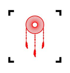 dream catcher sign red icon inside black vector image
