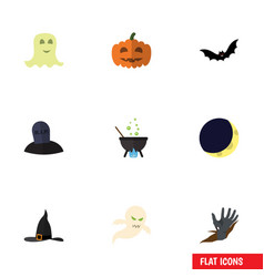 Flat icon halloween set of zombie ghost vector