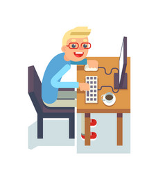 pc monitor programmer table chair guy isolated vector image vector image