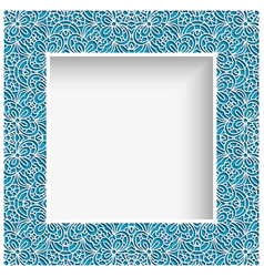 square frame with cutout lace border pattern vector image