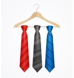 Tie Set on Wooden Hanger vector image vector image