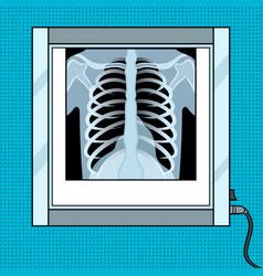 xray chest in negatoscope pop art vector image